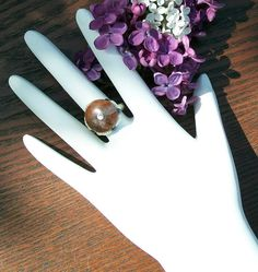 Akasha Petrified Wood and Pearl Ring by leighswiccanboutique, $25.00