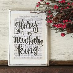 Glory to the newborn King - Hymn Board // hand lettered wood sign // Christmas decor // Hark the Herald Angel sing