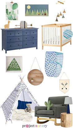Southwestern-Inspired Nursery Design Board - love all the arrows! Love that this nursery design was created around @NojoBedding's new Just Swaddled line. baby style