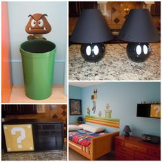 super mario bros bedroomLOVE the lamp,idea! So simple but very creative. Perfect for a little boys room