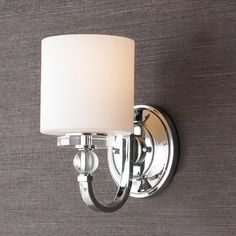 Flat Iron Ribbon Sconce Cool, sleek sophistication is written all over this design. Gleaming glass ball accents complement the opal etched glass drum shade and shiny chrome finish, bringing a soft modern sensibility to your home.