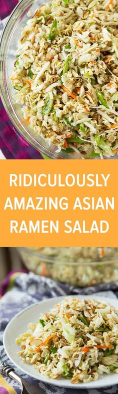 This ridiculously amazing Asian ramen salad will have you and your guests going back for thirds and fourths. Everyone will be asking for the recipe and you'll want to bring this easy dish to every potluck!: