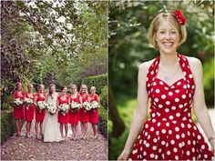 white and red Polka Dot Wedding, Red Wedding, Fall Wedding, Wedding Stuff, Red Bridesmaids, Red Bridesmaid Dresses, Wedding Dresses, Wedding Bouquets, Wedding Strawberries
