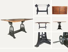 Want a table that's 3 in 1? This #Industrial table works perfectly as a bar table, dining table, and a drafting table! www.antiquesdirect.ca #Vancouver #AntiqueMarket #AntiqueStore #Furniture