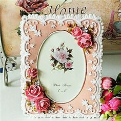 """Picture Frames - 6"""" Floral Edged Rose Polyresin Picture Frame"""