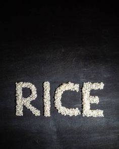 rice in the form of words view from above