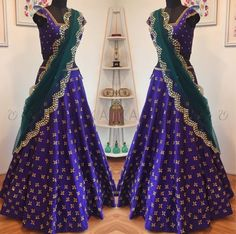 Looking for half saree color combinations ? Check out 21 cool looking half saree designs with trending colors and modern appeal. Lehenga Choli Wedding, Half Saree Lehenga, Blue Lehenga, Lehnga Dress, Sari, Bollywood Lehenga, Lehenga Blouse, Indian Lehenga, Half Saree Designs