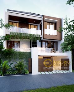 Andrew Private House Design - Jakarta- Quality house design of architectural services, experienced professional Bali Villa Tropical designs from Emporio Architect. Bungalow House Design, House Front Design, Design Your Dream House, Small House Design, Modern Villa Design, Garage House Plans, American Houses, Dream House Exterior, Architect House