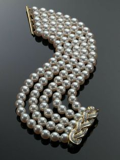 Bracelets Ideas : Assael Pearl Bracelet with Diamond Clasp Designed by Angela Cu… - Pearl Jewelry Diamond Bracelets, Sterling Silver Bracelets, Diamond Jewelry, Bangle Bracelets, Hippie Bracelets, Bangles, Mesh Bracelet, Pearl Diamond, Gold Jewellery