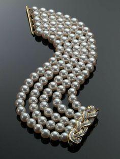 Bracelets Ideas : Assael Pearl Bracelet with Diamond Clasp Designed by Angela Cu… - Pearl Jewelry Diamond Bracelets, Sterling Silver Bracelets, Diamond Jewelry, Jewelry Bracelets, Pearl Bracelets, Bangle Bracelet, Hippie Bracelets, Bangles, Pearl Necklaces