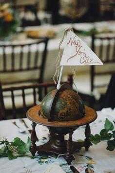 Vintage Globe Table Name Centrepiece