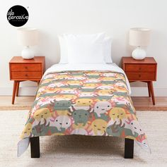 Comforter with vivid, full color print on front, white on back - 100% polyester fabric, 3/4 inch (2cm) polyester filling, and double square quilted pattern - Pillows and shams not included - Machine washable #weperceivestyle #weperceive #axolotl #axolotls #axolotllove #illustration #beddingdecor #beddingset #beddingsets  #cozyhome #comfycozy #bedroomdecor #weperceivestyle #designoftheday  #giftideas