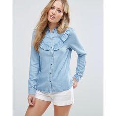 Vero Moda Denim Ruffle Shirt (78 SGD) ❤ liked on Polyvore featuring tops, blue, blue denim shirt, frilly shirt, regular fit shirts, blue ruffle top and frill top