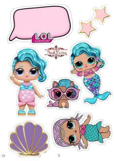 Doll Birthday Cake, Mermaid Theme Birthday, Birthday Cookies, Birthday Cake Toppers, Frozen Fever Party, Diy Halloween, Lol Doll Cake, Kids Stamps, Baby Ballerina