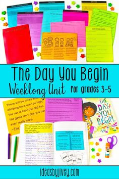 Use the mentor text, The Day You Begin by Jacqueline Woodson to teach figurative language, mood, modifiers, and celebrating our differences with a week of detailed explicit lessons, including teacher samples, mentor sentence lesson teaching modifiers (adjectives and adverbs), reading and writing lessons incorporating mood and figurative language, integration of social/emotional skills to celebrate our differences, printables for skill practice, and short assessments. #mentortexts