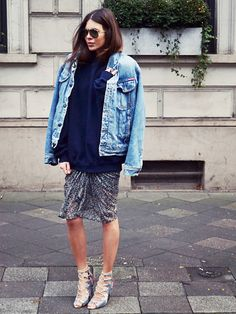 How To Wear An Oversized Denim Jacket via @WhoWhatWearUK