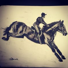 Eventing  #charcoal #drawing #art #horse #eventing