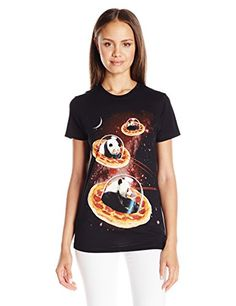 81ba683d019 Goodie Two Sleeves Juniors Pizza Panda Graphic Tee Black XLarge * You can  get more details by clicking on the image. Women's Fashion Clothing