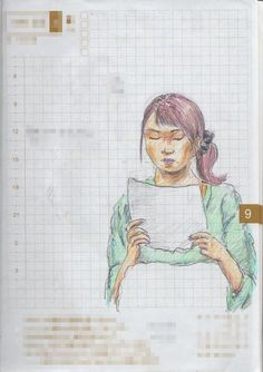 A woman I saw in the commuter train. 『勉強中』