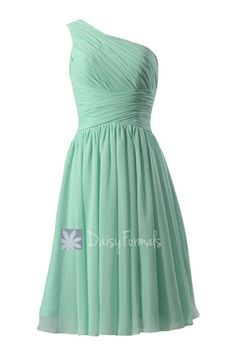 Hot! Mint One-Shoulder Chiffon Homecoming Dress Knee Length Bridesmaid – DaisyFormals-Bridesmaid and Formal Dresses in 59+ Colors