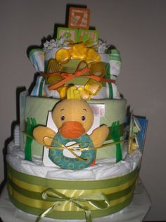 diaper cake w/yellow duck and greens
