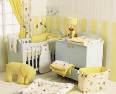 Baby room interior design: classic styles with a curtain