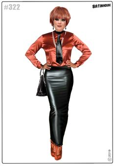 Satin Skirt, Dress Skirt, Hobble Skirt, Women Ties, Leather Fashion, Collagen, Leather Skirt, Sexy Women, Tights