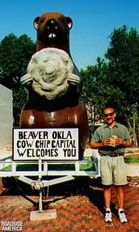 "Hehe Beaver Oklahoma.. The ""COW CHIP"" Capital of America.  What an honor.  Courtesy of Roadside America."