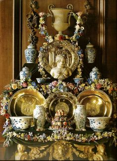 A recreation of a Baroque period display at Chatsworth, assembled in the 17th century manner with fruit, flowers, Oriental porcelain, and silver gilt plate, exemplifying not only the taste, wealth and splendour of the period, but also the qualities of symmetry and monumentality in the the decorative arts of the Baroque period.  Photograph by Paul Barker