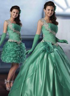 Vestido de debutante 2 em 1 - Verde água