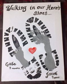 A handmade Father's Day gift Dad will love. It isn't time consuming- but it is timeless. Place the footprints in a frame with different color schemes to match a bedroom wall.  All you need to make this craft is: White cardboard paper, 2-3 colors of paint, Stencils, and a Frame