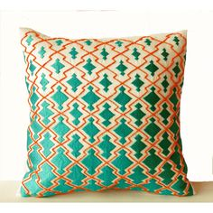 Throw Pillows -Teal Orange Decorative Pillowcase in Thread and Beads... (2,285 INR) via Polyvore featuring home, home decor, throw pillows, pillows, decorative pillow, housewarming gift, sofa pillow, throw pillow, beige throw pillows and teal throw pillows