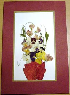 hand made pressed flowers card
