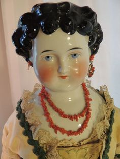 24 IN Antique German China Head Doll w Exquisite Gown