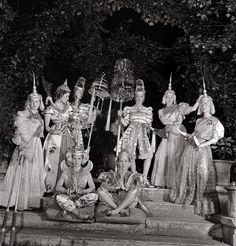 Jacqueline de Saint-Sauveur, Bettina Bergery,Ève Curie, Princess Poniatowska, Countess Daisy de Contades, Jacqueline Montesquiou-Fezensac, Gogo Schiaparelli, and Isabelle de La Moussaye at the Racine Ball, 1939; Wearing Ambassadors of Siam costumes, designed by Elsa Schiaparelli