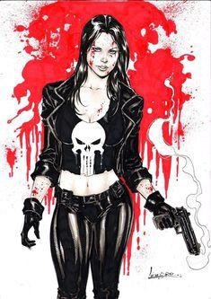 Edson Ecks__X__ Lady Punisher by Leandro Punisher Marvel, Marvel Dc Comics, Punisher Logo, Hq Marvel, Marvel Comic Universe, Comics Universe, Punisher Cosplay, Punisher Skull, Wolverine