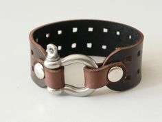 Brown Leather Cuff Leather Bracelet with Stainless by BeadSiam...$12.50