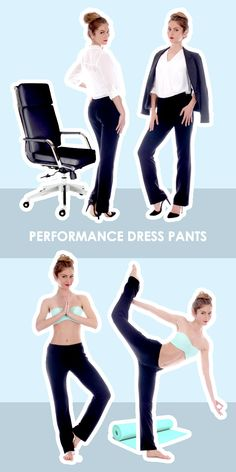 Yoga performance dress pants! Wear to work and wear to work out, the same pants. From $29, bodilove.com <3