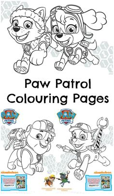 cute paw patrol colouring pages to download and print for the kids