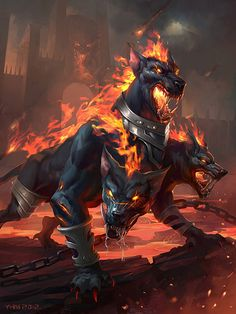 Cerberus: The three headed dog, Guardian of the Underworld, who was the twelve labor of Hercules.