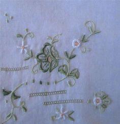 Vintage Embroidered White Cotton Handkerchief - Green Wild Rose