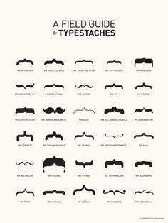 typostrate: Typestaches for decorating your mouth or your font by Tor Weeks an art director from San Francisco. The field guide is a very nice inspiration, showing the different moustaches from different Font Misters like Mr. Times, Mr Stencil and the others we know well.