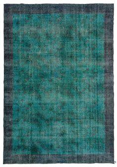 Turquoise Over-dyed Turkish Vintage Rug