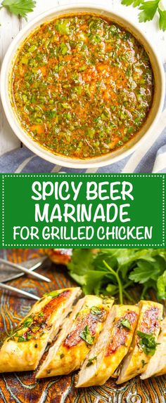 Spicy beer marinade for chicken collage