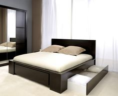 Luxury Bedding Sets For Less Product Black Bedroom Design, Wardrobe Design Bedroom, Room Design Bedroom, Bedroom Furniture Design, Bedroom Layouts, Bed Furniture, Simple Bed Designs, Bed Designs With Storage, Double Bed Designs
