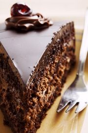 Chocolate Cake With Creamy  Chocolate Frosting_  The Ultimate in Chocolate Recipes With Rich Belgian Chocolate... A Triple Delight in Chocolate Desserts... Chocolate Lovers beware...taste-buds will be watering with delight when you dig into this one...