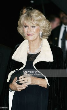 HRH Camilla, Duchess of Cornwall, wearing a dress by fashion designers Robinson Valentine with a velvet cape, attends a dinner for business and civic leaders at the De Young Museum on November 7, 2005 in San Francisco, California. The Prince of Wales and his wife Camilla, Duchess of Cornwall are on the seventh day of their official eight day visit to the U.S.