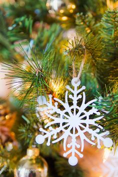 wood snowflake ornament. so pretty! #christmas  #snowflake #ornament #JustAddMichaels