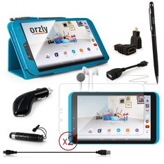 """ORZLY® - TESCO HUDL 2 DELUX 10-IN-1 MULTI ACCESSORY BUNDLE - Comprising: 1x BLUE PropUp Stand Case with Orzly Stylus Pen and Pen Loop + 1x Dangly Mini Stylus (clips to headphone jack) + 2x Screen Protector Guards with Cleaning Cloth - Also Includes: Inner Ear Headphones + HDMI and OTG Cable with USB to MicroUSB Adapters and In Car Charger - Tablet Covers designed by ORZLY® exclusively for Tesco Hudl2 8 Inch Tablet (Tesco's new 8"""" Tablet - Released in 2014): Amazon.co.uk: Computers…"""