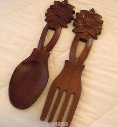 "Vintage Oversize 15.5"" Wooden Fork Spoon Wall Hangers Sunflowers 60's Chic!"